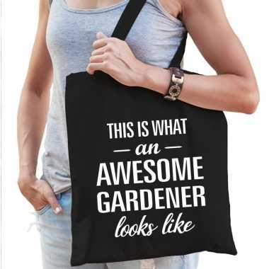 Awesome gardener / hovenier cadeau tas zwart dames