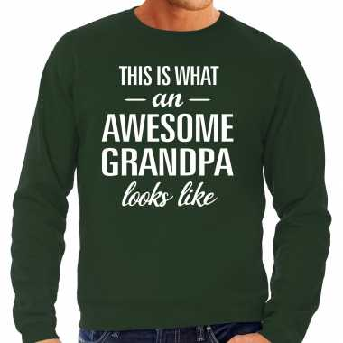 Awesome grandpa opa cadeau sweater groen heren