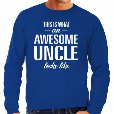 Awesome uncle oom cadeau sweater blauw heren