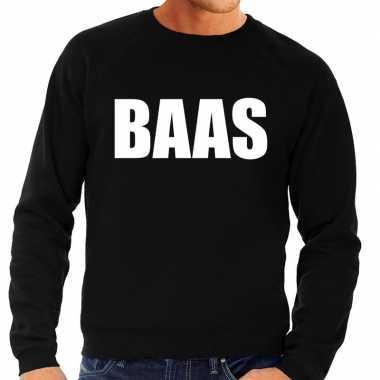 Baas tekst sweater / trui zwart heren