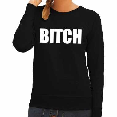 Bitch tekst sweater / trui zwart dames