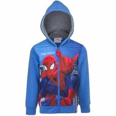 Blauw spiderman capuchon vest kinderen