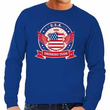 Blauwe usa drinking team sweater heren