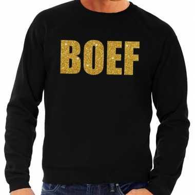 Boef gouden glitter tekst sweater zwart heren