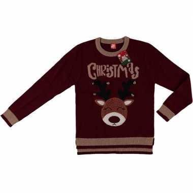 Kersttrui Lang Dames.Bordeaux Rode Kersttrui Rendier Dames Goedkope Sweaters Nl