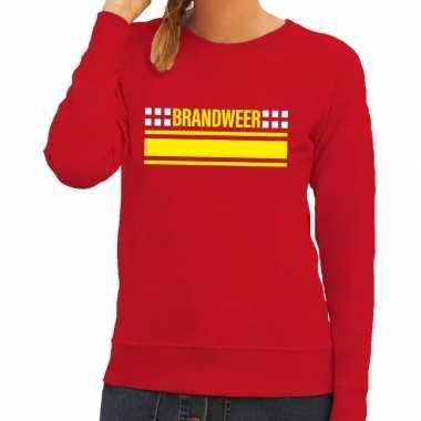 Brandweer logo sweater rood dames