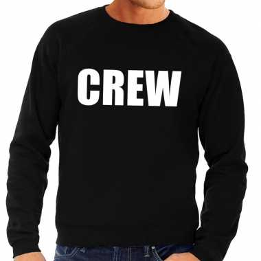 Crew tekst sweater / trui zwart heren