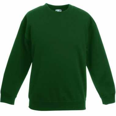 Donkergroene katoenmix sweater meisjes
