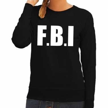 Fbi tekst sweater / trui zwart dames