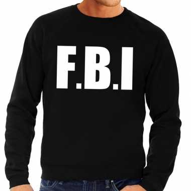Fbi tekst sweater / trui zwart heren