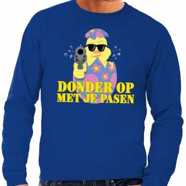 Fout paas sweater blauw donder je pasen heren