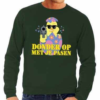 Fout paas sweater groen donder je pasen heren