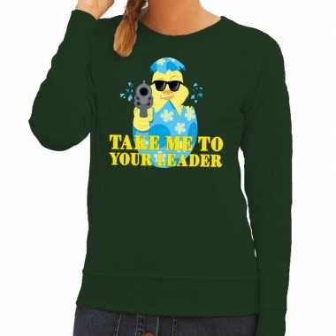 Fout paas sweater groen take me to your leader dames