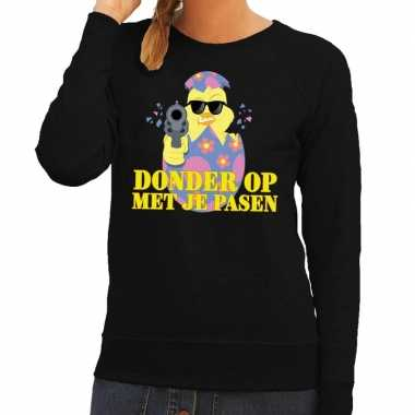 Fout paas sweater zwart donder je pasen dames