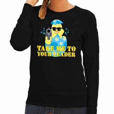 Fout paas sweater zwart take me to your leader dames