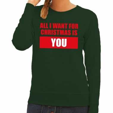 Foute kersttrui all i want for christmas is you groen dames