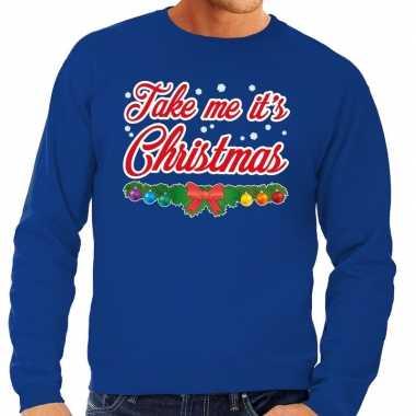Foute kersttrui blauw take me its christmas heren