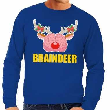 Foute kersttrui braindeer blauw heren