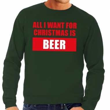 Foute kersttrui christmas beer groen heren