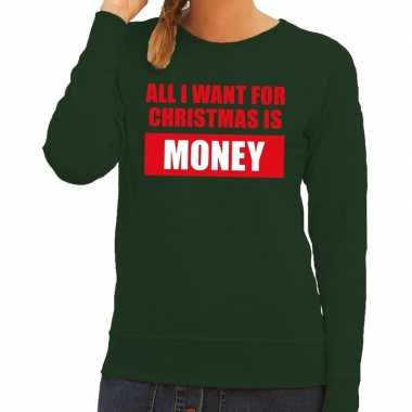 Foute kersttrui christmas money groen dames