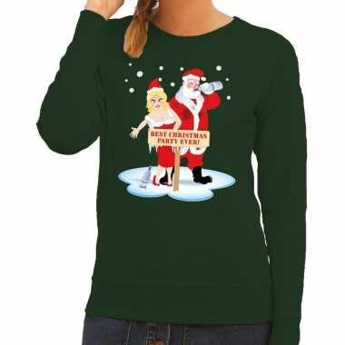 Foute kersttrui dronken kerstman kerstvrouw groen dames