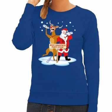 Foute kersttrui dronken kerstman rendier rudolf blauw dames