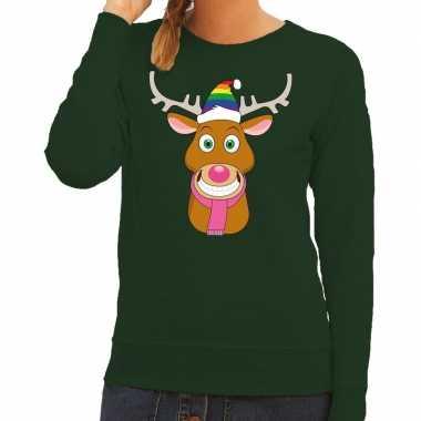 Foute kersttrui gay rudolf rendier groen dames