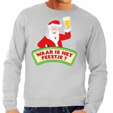 Foute kersttrui grijs waar is feestje heren