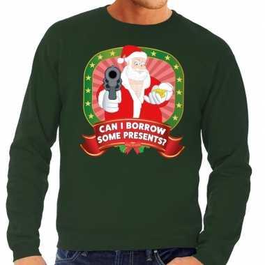 Foute kersttrui groen can i borrow some presents heren