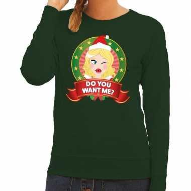 Foute kersttrui groen do you want me dames