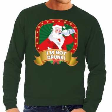Foute kersttrui groen im not drunk heren