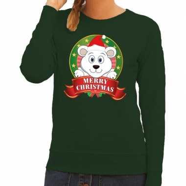 Foute kersttrui groen merry christmas ijsbeer dames