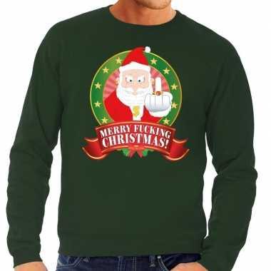 Foute kersttrui groen merry fucking christmas heren