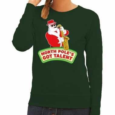Foute kersttrui groen north poles got talent dames
