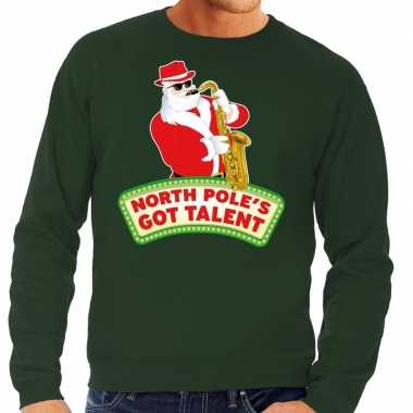 Foute kersttrui groen north poles got talent heren