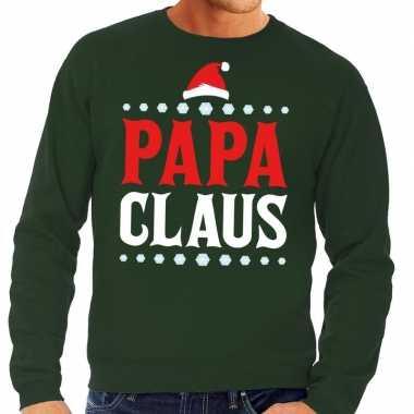 Foute kersttrui groen papa claus heren