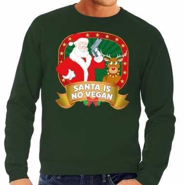 Foute kersttrui groen santa is no vegan heren