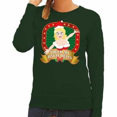 Foute kersttrui groen touch my jingle bells dames