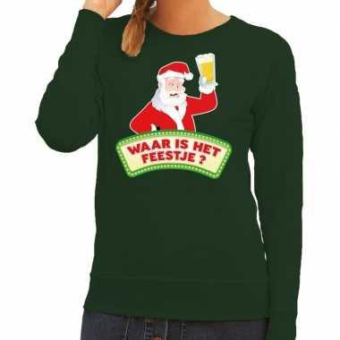 Foute kersttrui groen waar is feestje dames