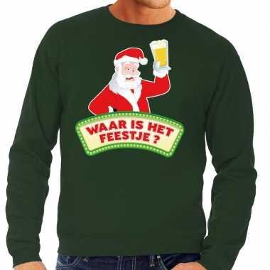 Foute kersttrui groen waar is feestje heren