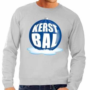 Foute kersttrui kerstbal blauw grijze sweater heren