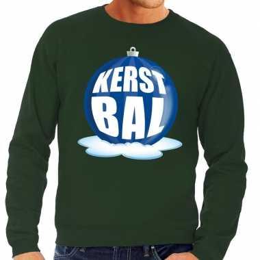 Foute kersttrui kerstbal blauw groene sweater heren