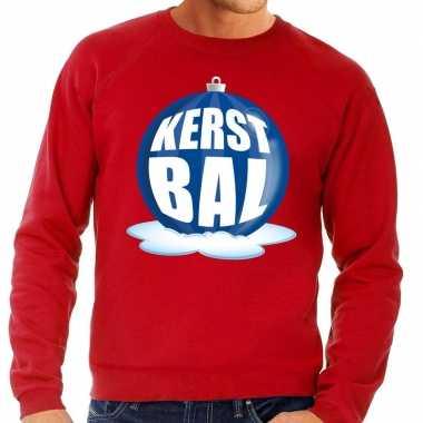 Foute kersttrui kerstbal blauw rode sweater heren