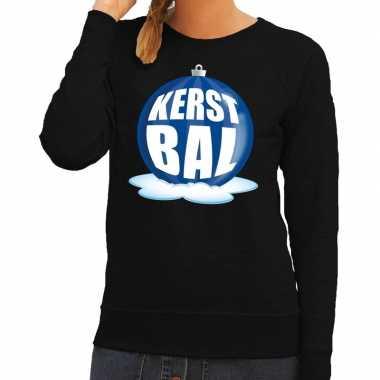 Foute kersttrui kerstbal blauw zwarte sweater dames