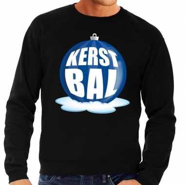 Foute kersttrui kerstbal blauw zwarte sweater heren