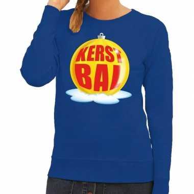 Foute kersttrui kerstbal geel blauwe sweater dames