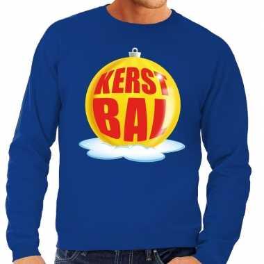 Foute kersttrui kerstbal geel blauwe sweater heren