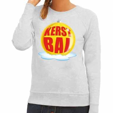 Foute kersttrui kerstbal geel grijze sweater dames