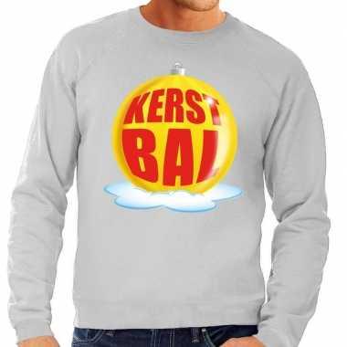Foute kersttrui kerstbal geel grijze sweater heren