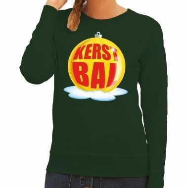 Foute kersttrui kerstbal geel groene sweater dames